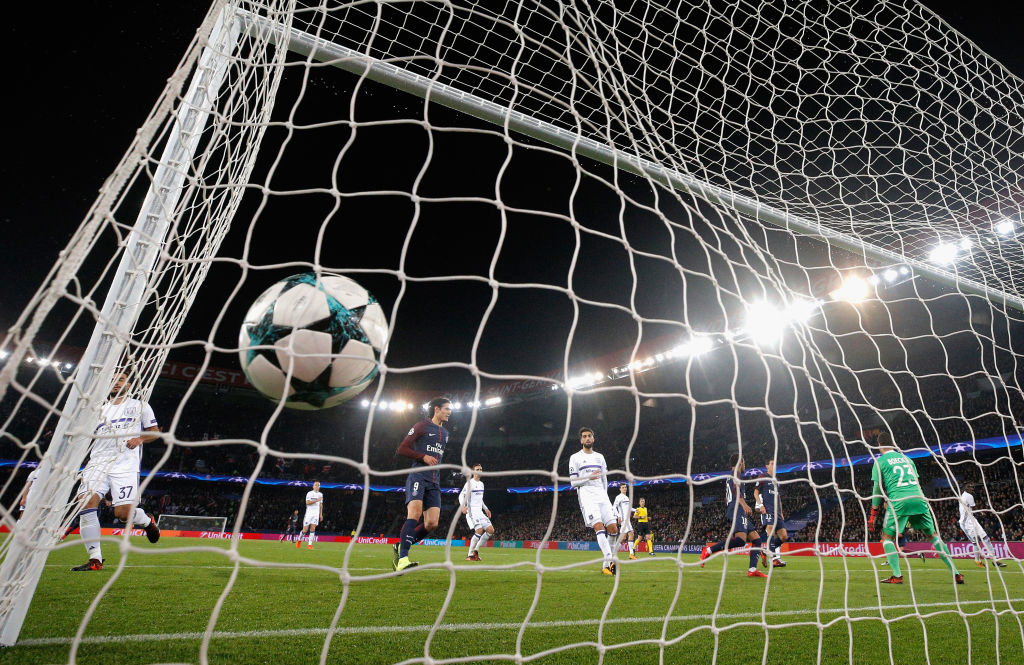 ball in the goalkeepers net